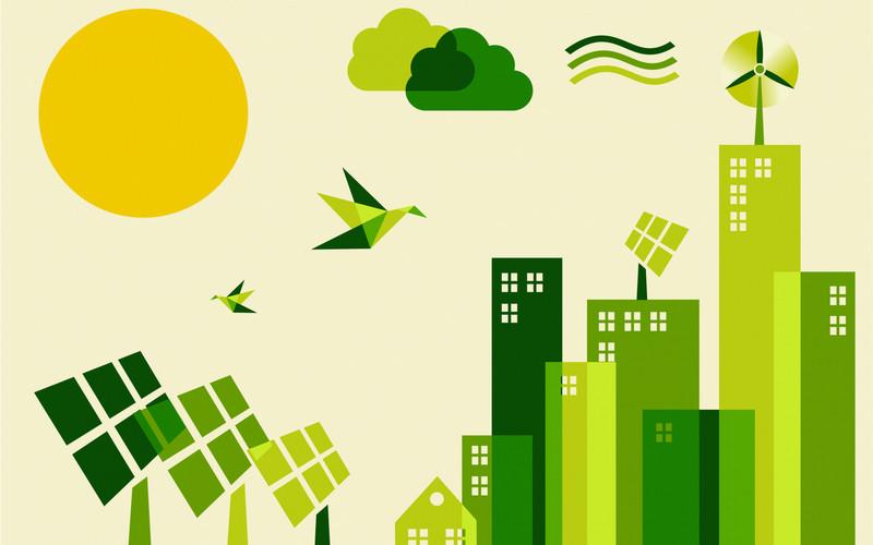 Illustrasjon som framstiller grønt bymiljø med solcelleanlegg og vindmøller.