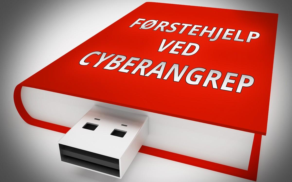 Rød bok med USB-utgang og påskriften Førstehjelp ved cyberangrep