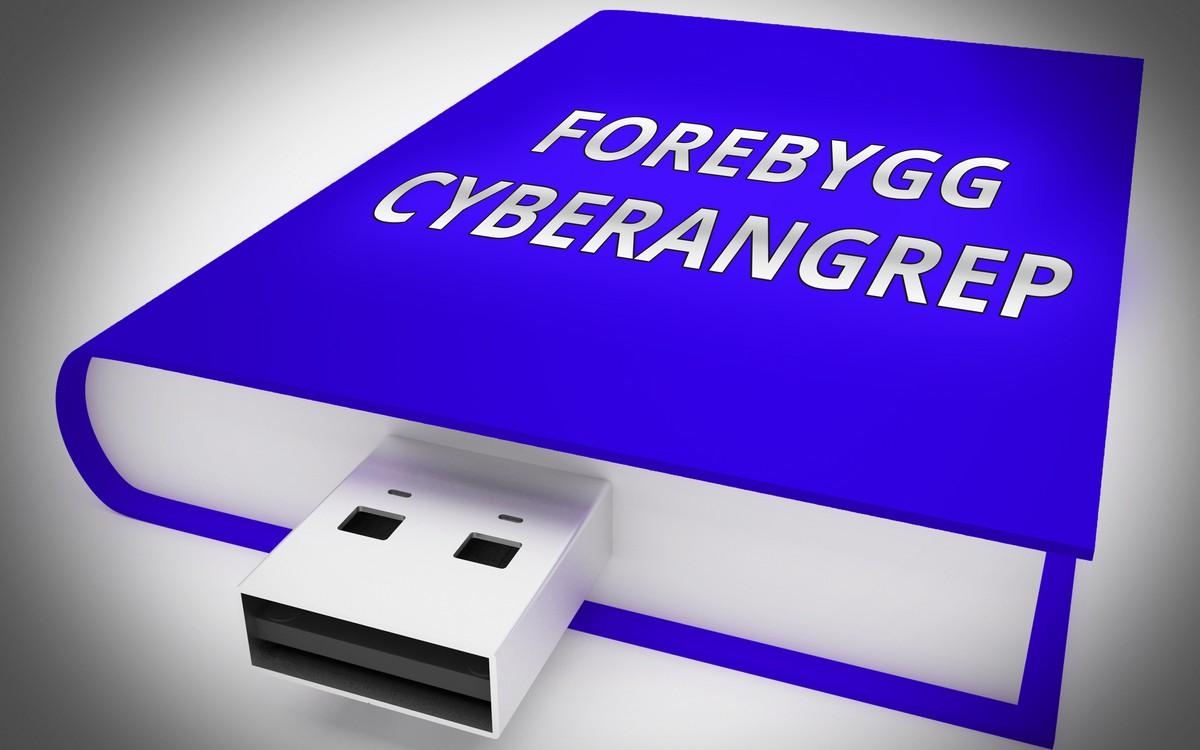 Blå bok med USB-utgang og påskriften Forebygg cyberangrep